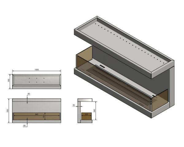 Wkład do zabudowy Inside C1000 vers3 wymiary