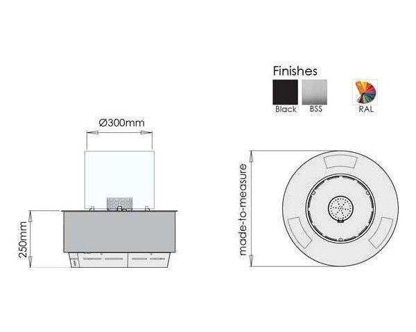 Biokominek automatyczny Denver Round - wymiary