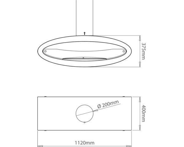 Biokominek wiszący Ellipse Ceiling - wymiary