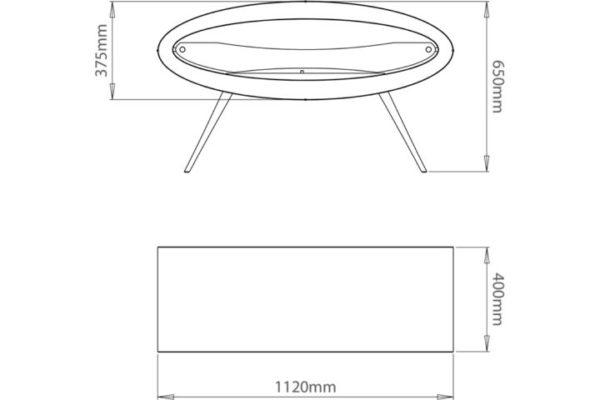 Biokominek Ellipse Floor - wymiary