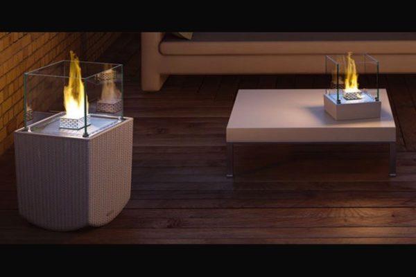 Biokominek wolnostojący Nice Series + Nice Table-Top aranżacja