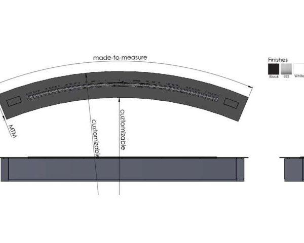 Palenisko Denver Curved - wymiary