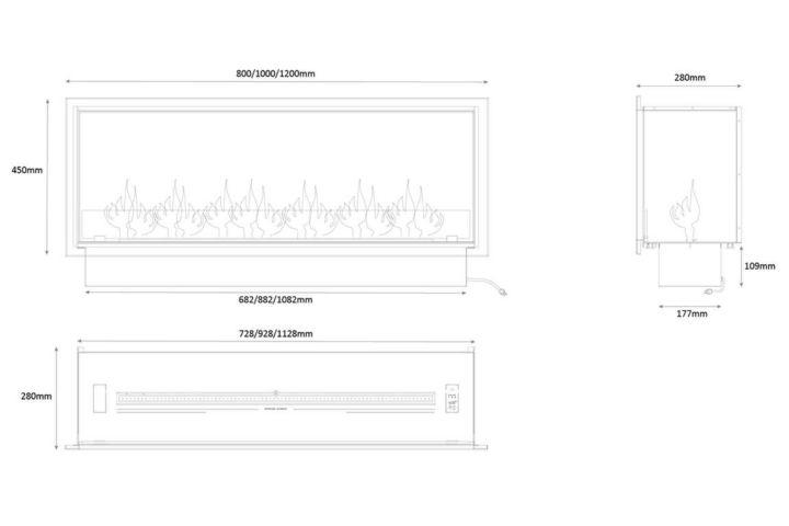 Biokominek Montreal Basic with frame - wymiary