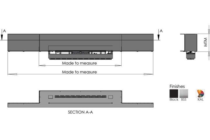 Biokominek Montral Panorama wymiary
