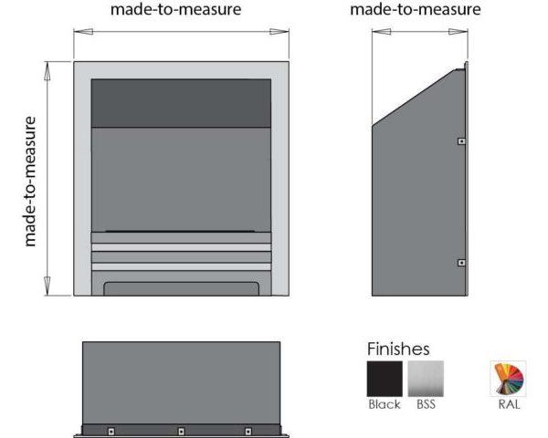 Biokominek - wkład do zabudowy Westminster DS wymiary
