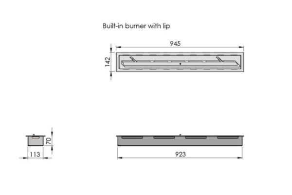 Palenisko Built-in manual burner with lip - wymiar
