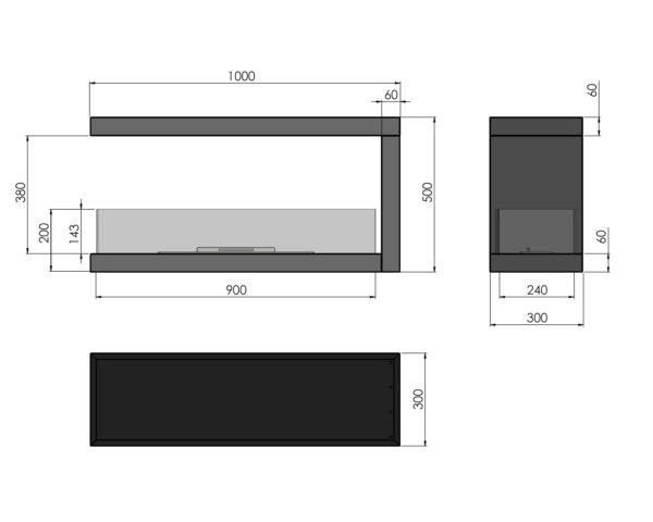 Biokominek Wkład do zabudowy Inside U1000 z izolacją termicznąWkład do zabudowy Inside U1000 wymiary