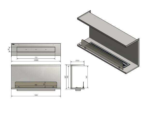 Biokominek wkład do zabudowy Inside C1000 Vers2 wymiary