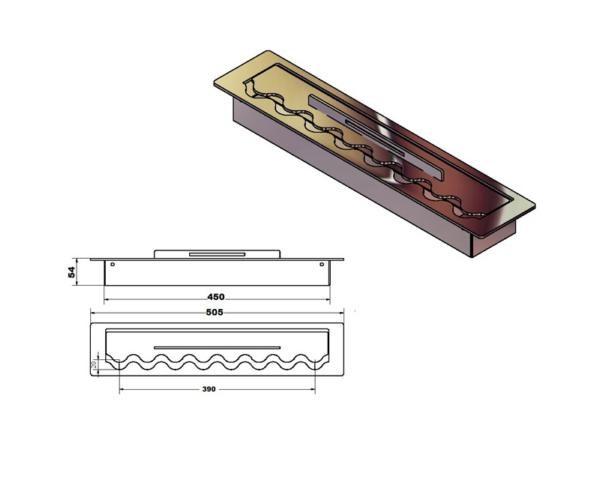Infire Palenisko 505mm FALA Inox wymiary