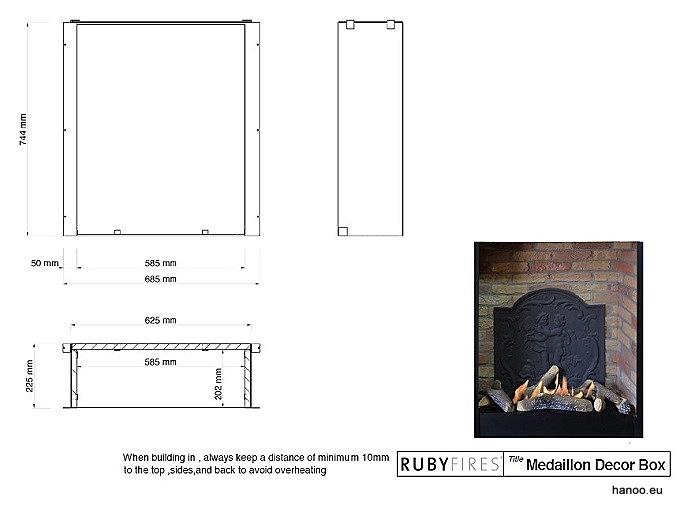 Ruby Fires - Wkład biokominkowy z murem i medalionem