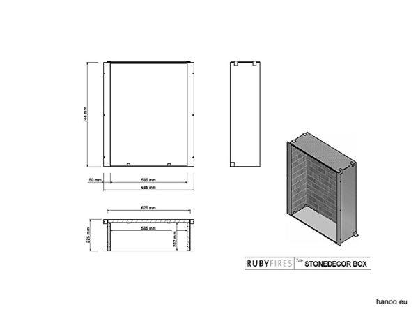Ruby Fires - Wkład biokominkowy z murem