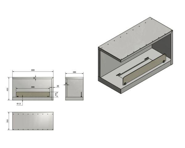 Biokominek Narożny Wkład do zabudowy Inside L800 Vers2 wymiary