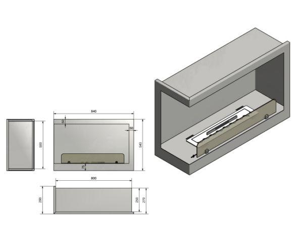 Wkład do zabudowy Inside L800 Vers1 wymiary