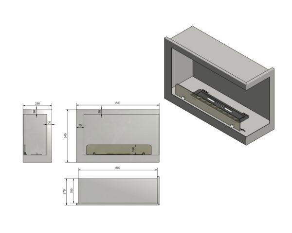 Narożny wkład do zabudowy Inside P800 Vers1 wymiary