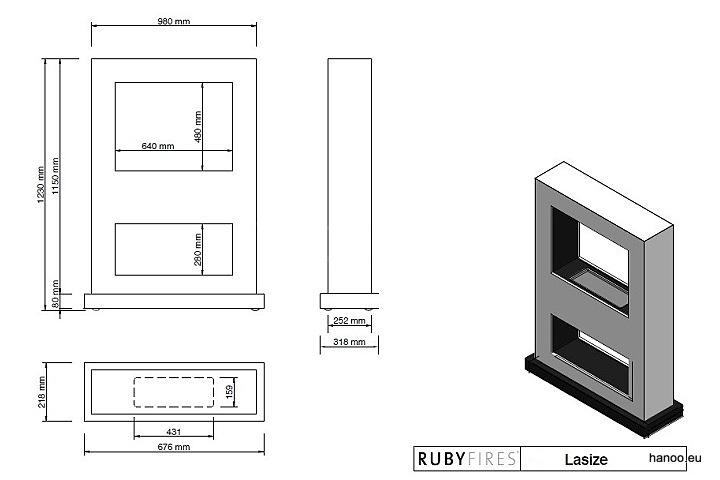 Ruby Fires - Biokominek Lasize
