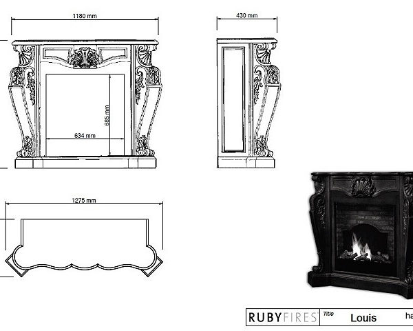 Ruby Fires - Biokominek Louis XIV