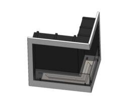 Biokominek wkład narożny na indywidualne zamówienie palenisko proste L