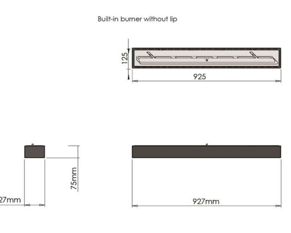 Palenisko Built-in manual burner without lip - wymiar