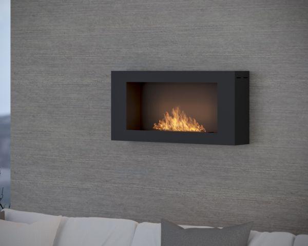 Biokominek Blackbox 910 do zawieszenia na ścianie Simple fire aranżacja