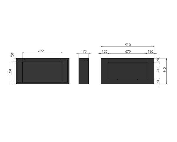 Biokominek Blackbox 910 wymiary