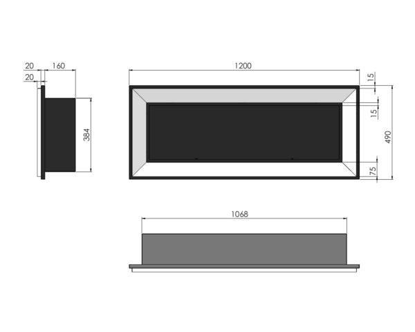 Biokominek Frame 1200 ramka kolor do zabudowy wymiary
