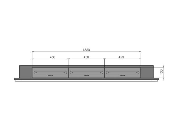 Biokominek Frame 1800 ramka kolor 3 paleniska