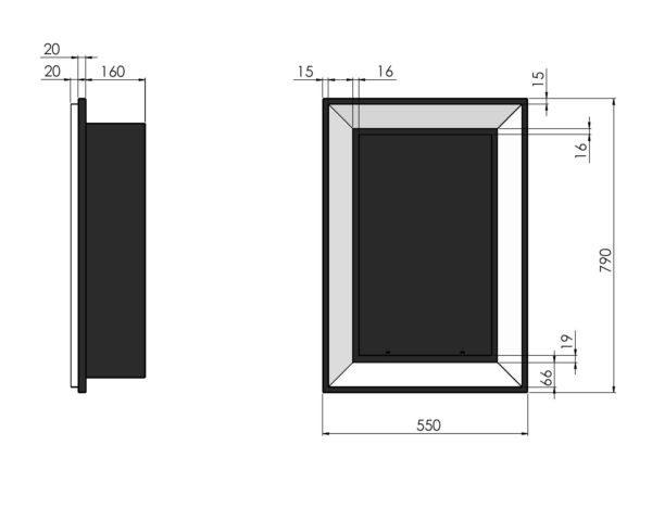 Biokominek Frame 550 wymiary