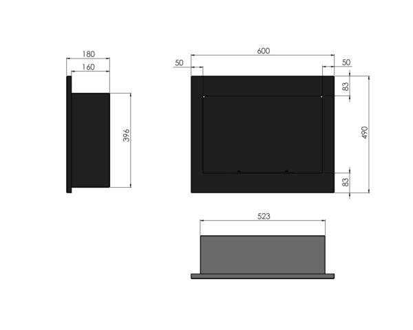 Biokominek Frame 600 Simple fire wymiary