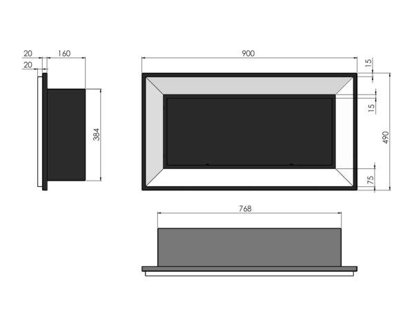 Biokominek Frame 900 wymiary